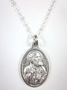 St peter medal italy pendant necklace 20 chain gift box prayer image is loading st peter medal italy pendant necklace 20 034 aloadofball Images