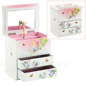 GIRLS WHITE & PINK MUSICAL JEWELLERY TRINKET BOX WITH ROTATING FAIRY BY MELE