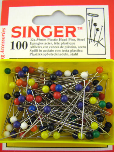 "- Free 1st P/&P 1.25/"" 1 x box 32mm 100 pins Singer Plastic Colour Head Pins"