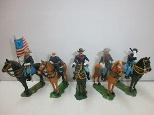 Konvolut-5-alte-Elastolin-Kunststoff-Figuren-USA-Buergerkrieg-Nordstaatler-zu-4cm