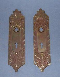 Set of 2 Ornate Skeleton Key Hole Russell B.Erwin Co Door Knob Back Plates #721W