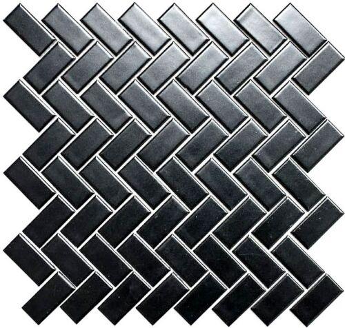 24-CHB06BM/_f 10 Matten Mosaik Fliese Keramik Fischgrät schwarz matt Küche Bad