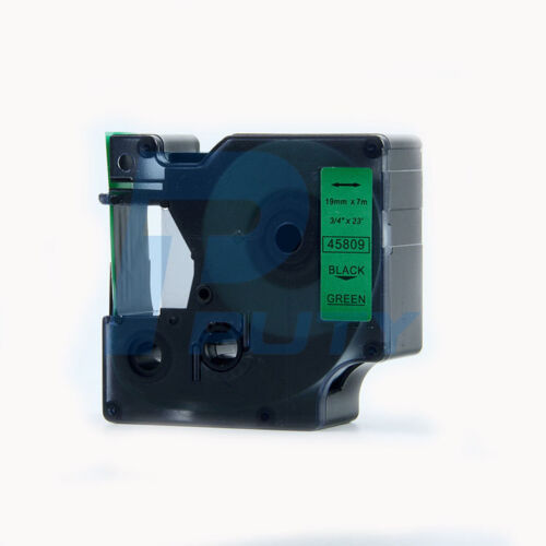 2PK Compatible for DYMO D1 45809 Black on Green Label Tapes 19mm x 7m