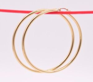 3mm-X-70mm-2-3-4-034-Large-Plain-All-Shiny-Hoop-Earrings-REAL-14K-Yellow-Gold-5-7gr