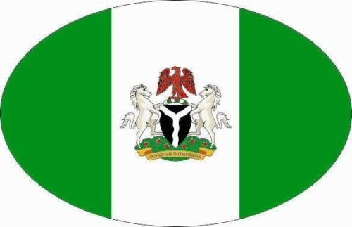 Aufkleber Nigeria mit Wappen Oval 10 x 6,5 cm Autoaufkleber Sticker