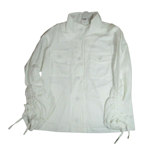 Banana Republic Factory White Linen Blend Jacket Small NWT 3/4 Sleeve Lined Snap