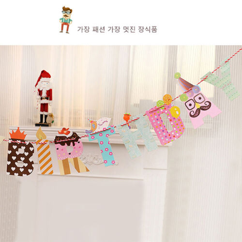 Novelty Moustache Beard Happy Birthday Party Favors Decor Home Bunting Banners