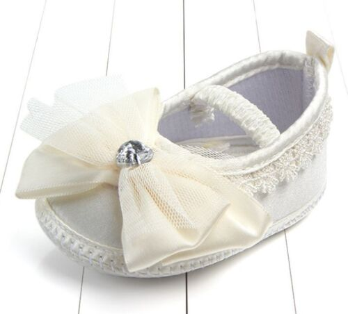 Baby Shower Infant Girl Kids Christening Beige White Satin Lace bow Shoes 0-9m