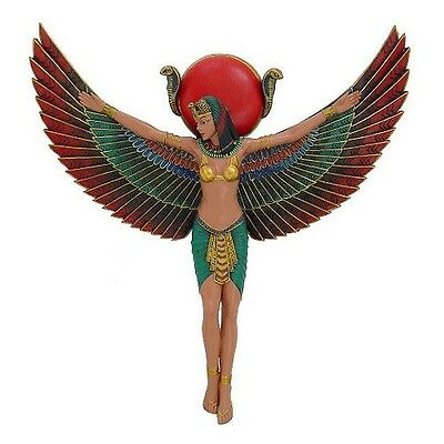 Egyptian Wall Decor Goddess Winged Isis Relief Colorful Hand Painted Art #11918