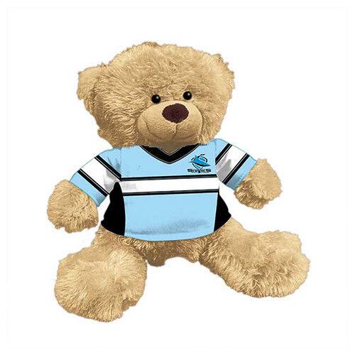 Cronulla Sharks NRL Plush Teddy Bear Sublimated 2019 Team Jersey Embroidered
