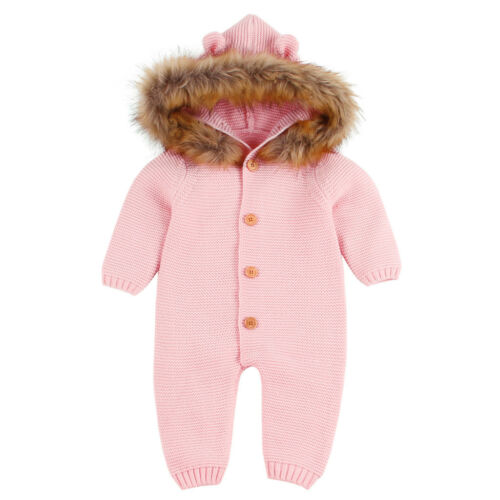 Newborn Infant Baby Boy Girl Knitted Outwear Romper Solid Jumpsuit Warm Outfits