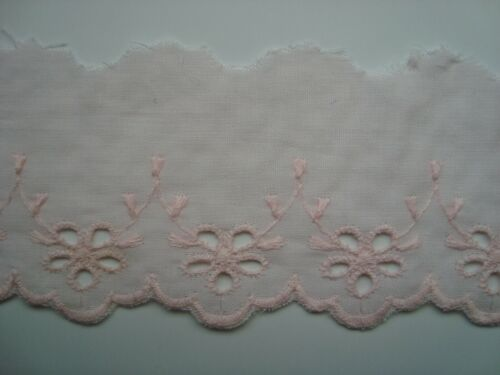 En encaje inglés luz rosa de 50mm de Ancho Varias Longitudes