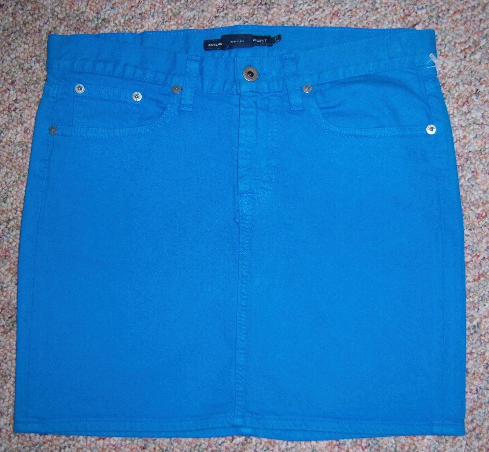 RALPH LAUREN Turquoise Denim Short Above Knee Straight Jean Skirt Size 28 or 6