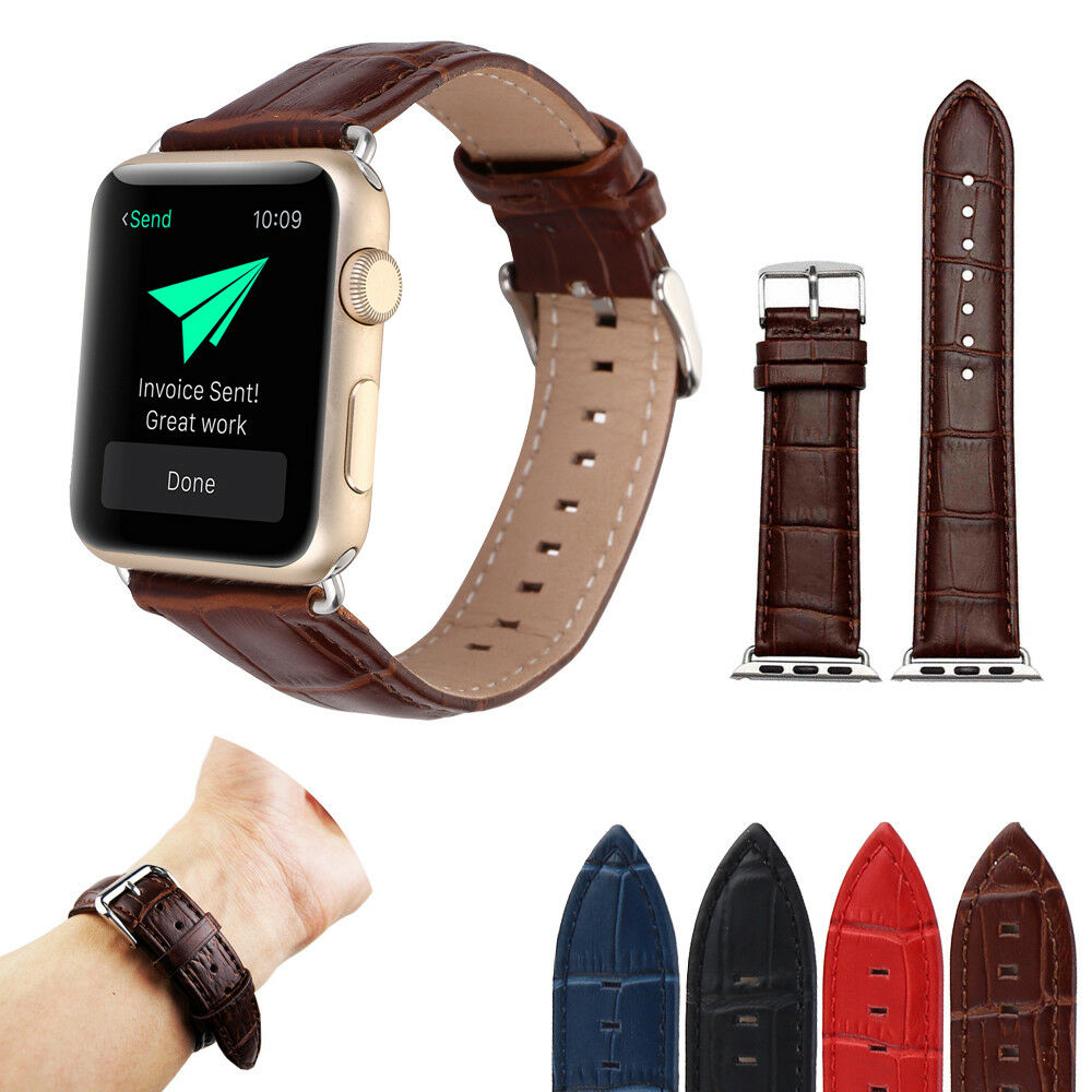 iwatch: Crocodile Pattern Leather Band Strap for Apple Watch Series 6 5 4 3 2 iWatch SE