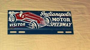 Indianapolis-500-speedway-souvenir-license-plate-topper-sign-w-race-car-1950-039-s