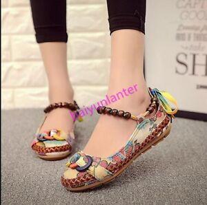 Retro-para-Mujer-Denim-Etnico-Lona-Impresa-Perlas-Zapatos-Bajos-Zapatos-Tejido-mocasines-pisos-S