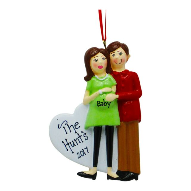 Pregnant Couple Brown Personalized Christmas Tree Ornament