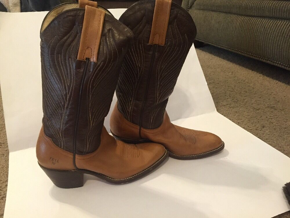 FRYE Womens 6.5 B Dark Brown And Tan Leather Western Horse Cowboy Feather Design