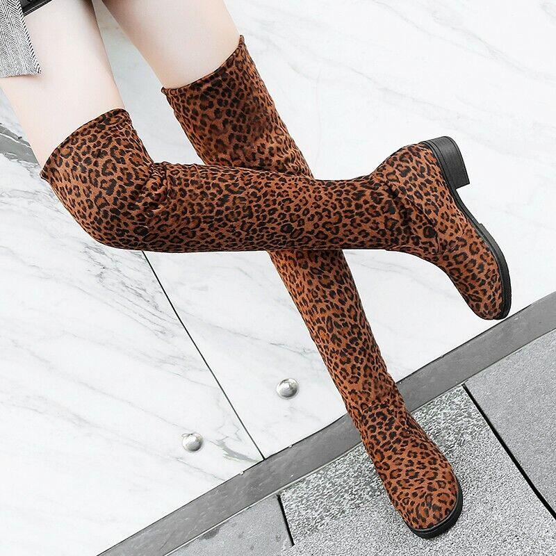 Damen Rund Faux-Wildleder Leopard Muster Schenkelhoch Stiefel Freizeit Bequem
