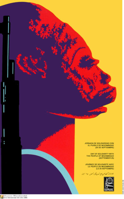 Political OSPAAAL Graphic Solidarity cuban POSTER.Mozambique AFRICA Makonde a53
