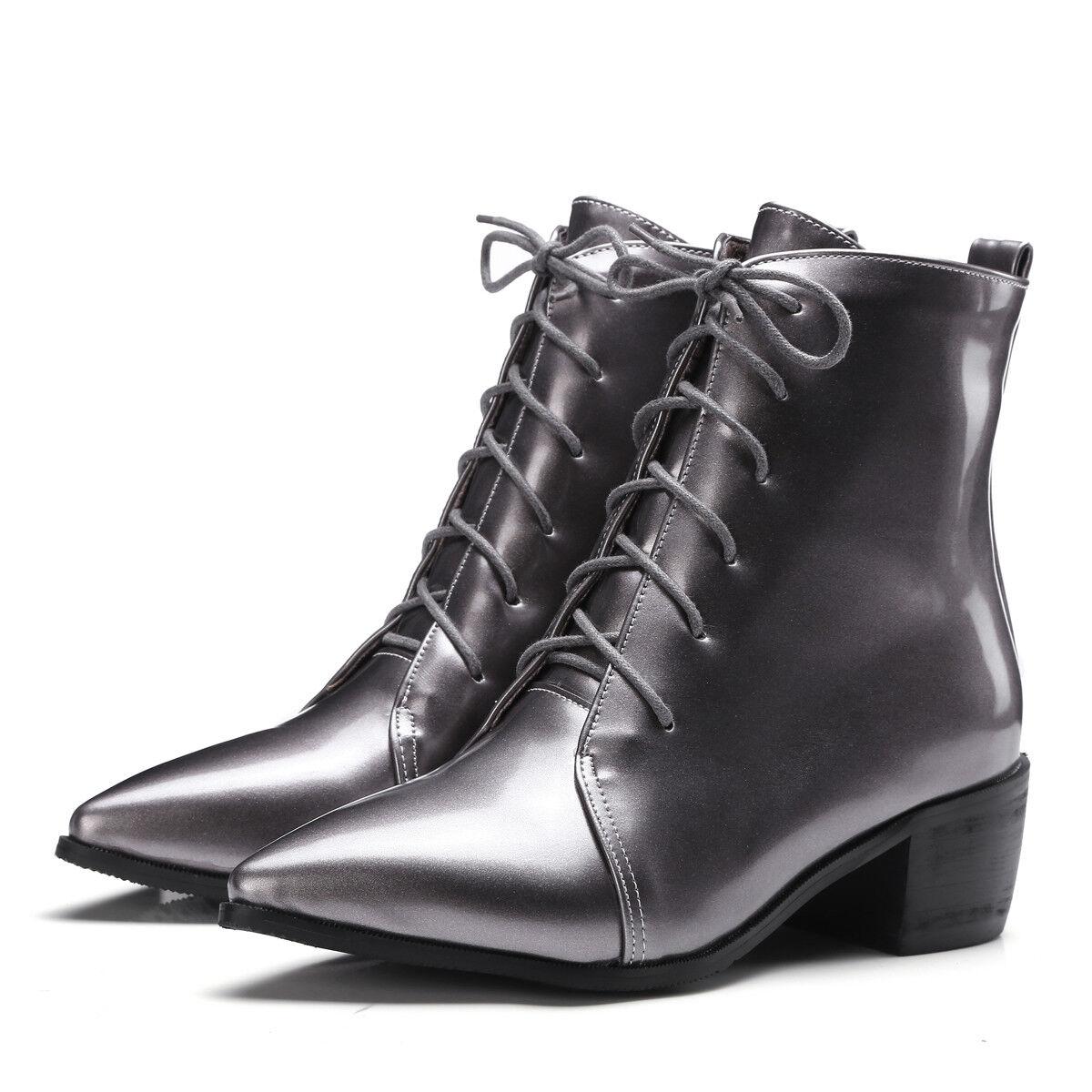 Damenschuhe Stiefel Stiefel Damenschuhe Stiefelletten Spitzer Blockabsatz Schnürsenkel Größe 33-44 24d31c