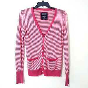 Details about Victoria Secret Pink Full Button Cardigan Sweater Large Pink & White Striped