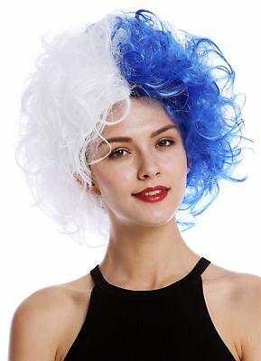 Capace Parrucca Uomo Donna Verrückt Wild Ricci Volume Bianco Blu Hälften Bicolore Squisito Artigianato;