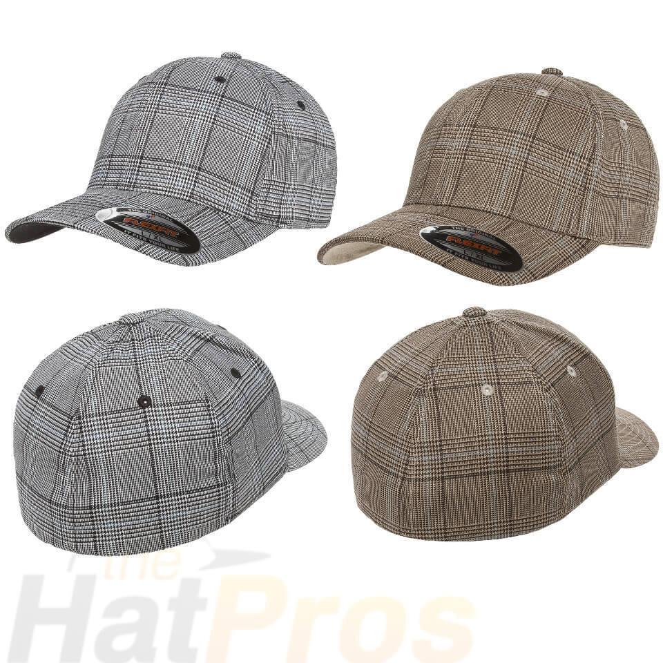 3163917edab54 Details about Flexfit® 6196 Fitted Ballcap Blank Cap Blank Golf Glen Check  Hat Plaid Flex Fit
