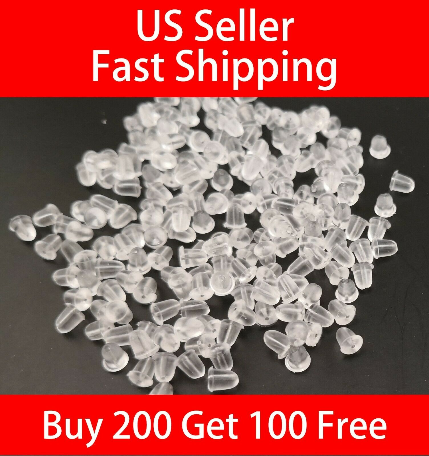 1000pcs Silicone Clear Earring Back Plugs Stoppers Ear Post Nuts Women Jewelry M