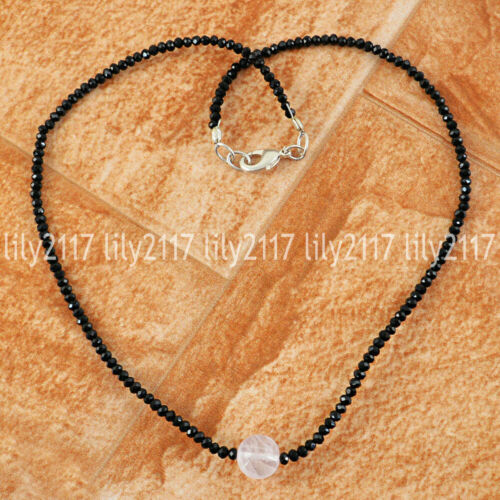 """Natural Faceted Noir Spinelle /& rond blanc quartz Pierres Précieuses Perles Collier 18/"""""""