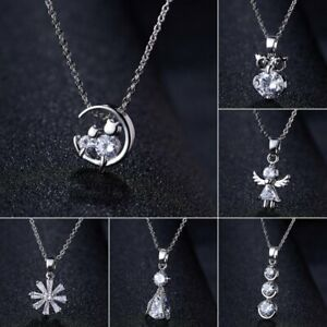 Charm-Silver-Crystal-Zircon-Necklace-Pendant-Choker-Chain-Women-Jewelry-Gift-Hot