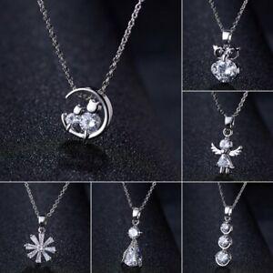 Charm-Silver-Crystal-Zircon-Necklace-Pendant-Choker-Chain-Women-Jewelry-Gift-Hot