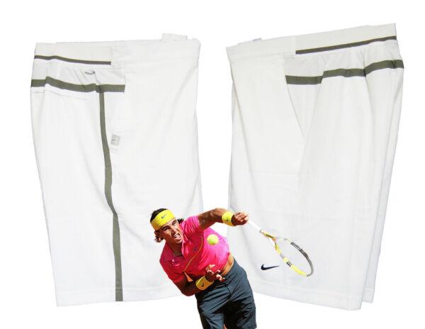Nuevo Nike HOMBRE NIKEFIT Pantalones Tenis BLANCO (Gris Recortada) XL TG