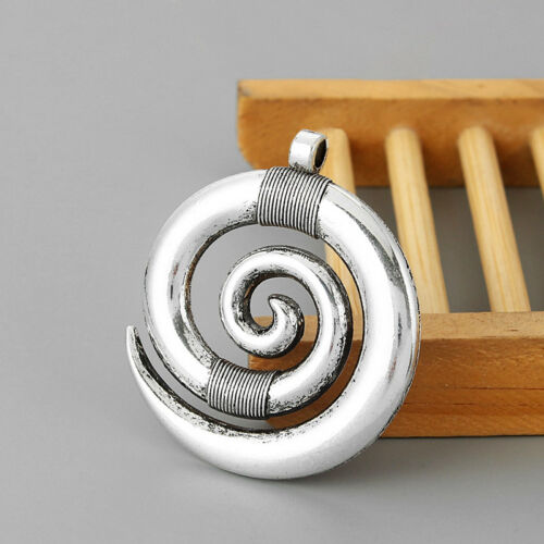 2x Large Tibetan Silver Spiral Swirl Design Charms Pendants for Necklace Making