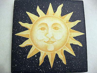 "Tile Coasters Celestial Sun Starry Dark Blue Sky Cork Back 4 1/4"" Set of Four"