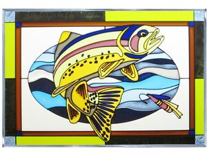 20x14 TROUT Fish Stained Art Glass Window Suncatcher