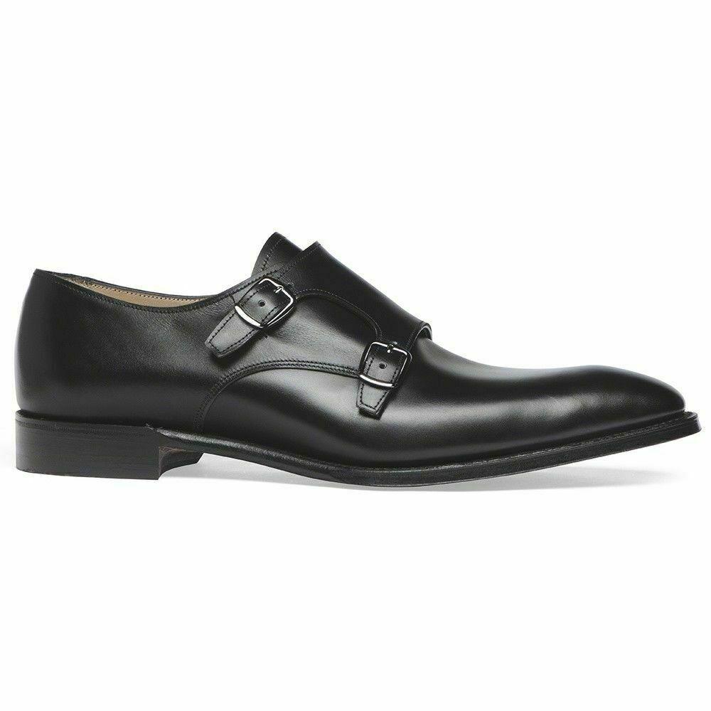 Para hombres cuero negro hecho a mano zapato Doble Monje Correa formal vestido de bota de desgaste causal