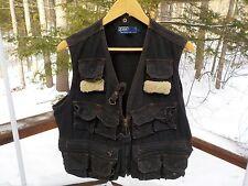 Polo Ralph Lauren Men's L Vintage Rare Black Canvas Fleece Trim Fly Fishing Vest