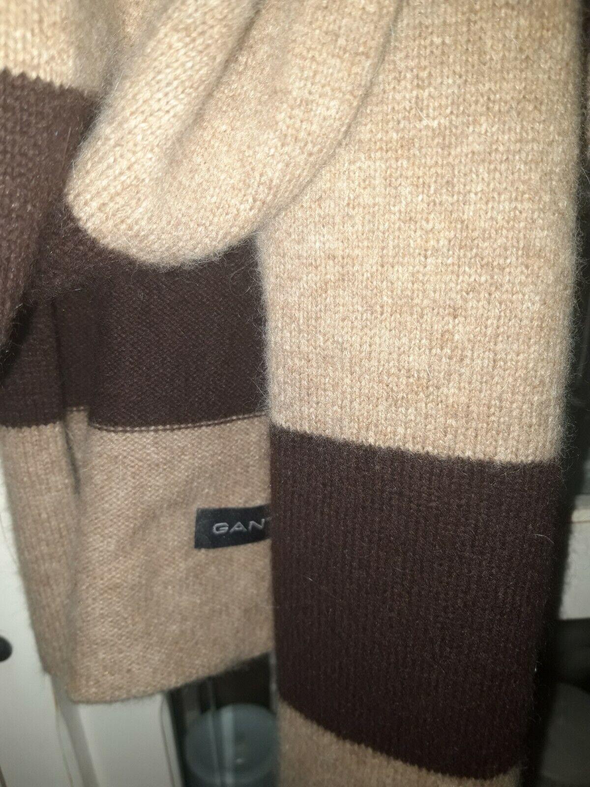 ♡GANT♡ Schal aktuelle Kollektion Neuwertig Wolle Kaschmir braun beige gestreift