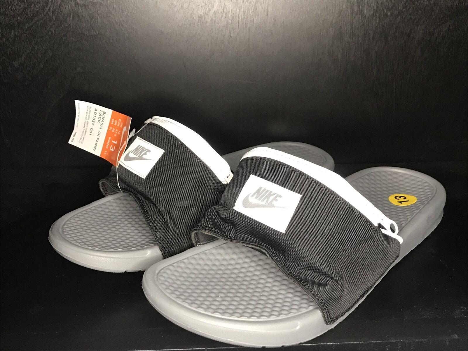 enlace fondo Vandalir  NEW Nike Men's Benassi JDI Fanny Pack Slides Black Grey AO1037-001 Size 13  for sale online