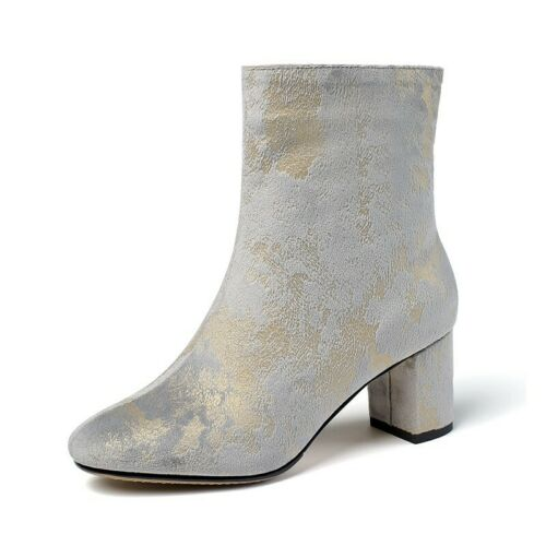 Details about  /Women Mom Floral Print Suede Fabric Block Heel Round Toe Chelsea Ankle Boots L