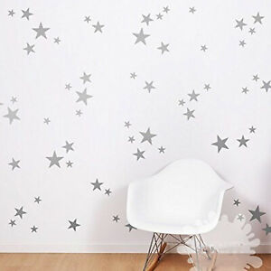 55 Silver Stars Pattern Vinyl Wall Art