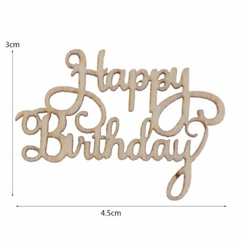 15Pcs Wooden Happy Bithday Table Confetti Scatter Vintage Rustic Party Decor