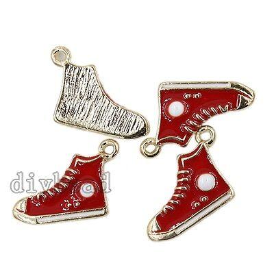 10pcs Lots Wholesale Red Enamel Gold Plated Tone Alloy Shoe Charms Pendant DIY D