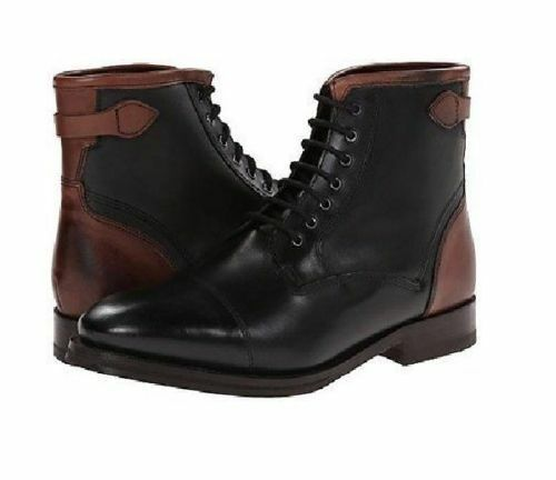 MEN'S HANDMADE BLACK AND BROWN LACE UP Stiefel CAP TOE HIGH ANKLE LEATHER Schuhe