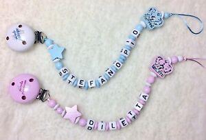 Catenella Portaciuccio/succhiotto Bambina Baby Nome Battesimo Regalo Glitter Feeding