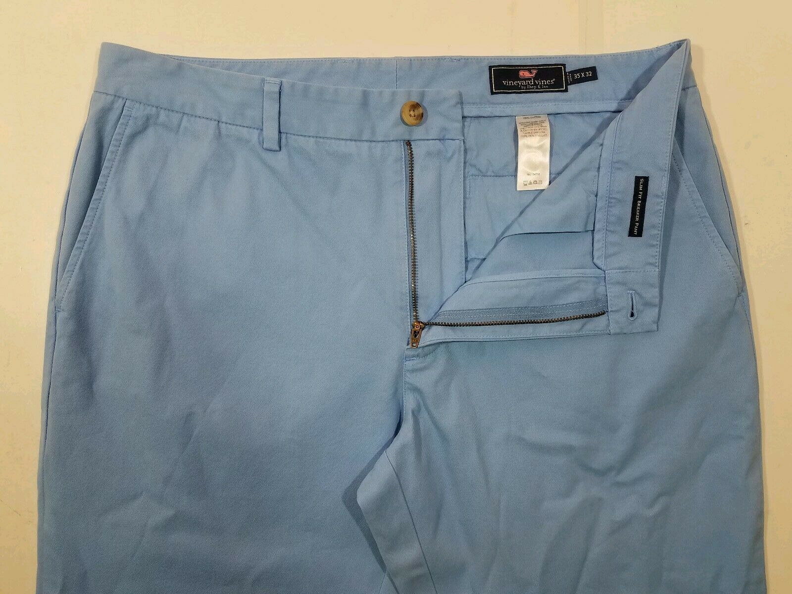 Vineyard Vines Slim Fit Breaker Pant Men's 35 x 32 Light bluee