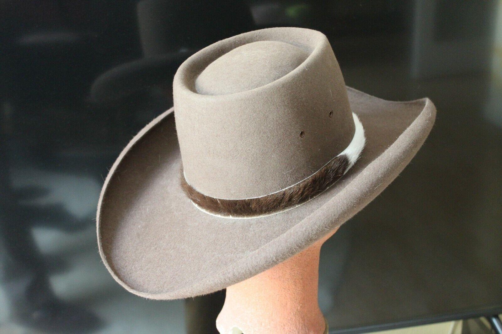 Akubra Western-Cowboy-Oldstyle sombrero  sombrero  cabello fieltro, marrón,