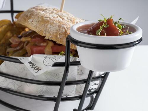 Servierkorb Burger /& Fries mit Halter und 2 Dippschälchen für je 50 ml