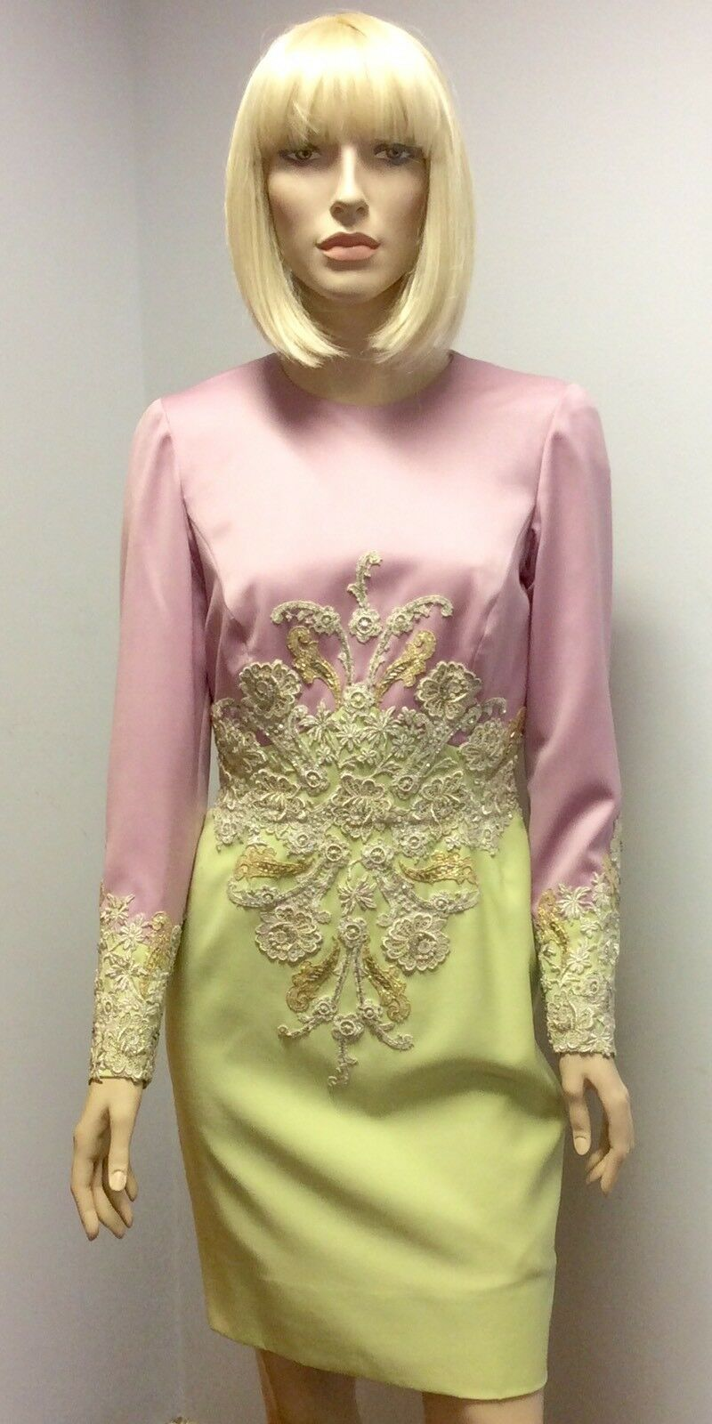 OOAK Custom Made Pretty Pastel Pistachio Grün And Lilac Dress UK 8-10